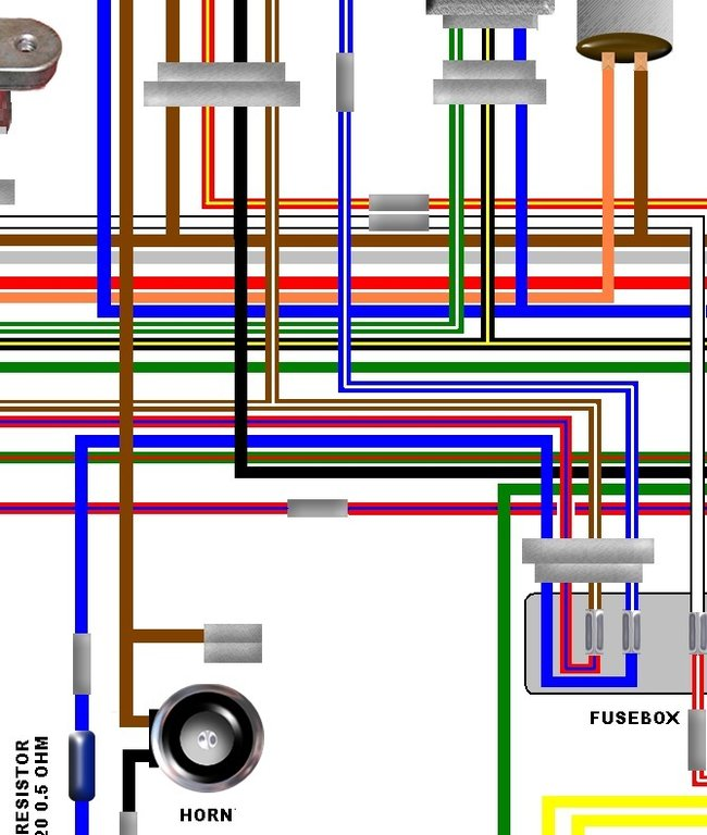 Kawasaki Kz750 E1 Usa Spec Large Colour Wiring Harness Diagram