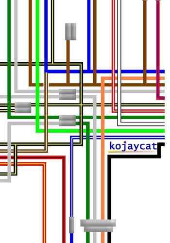 Kawasaki Kh400 S3 Large A3 Colour Laminated Wiring Loom