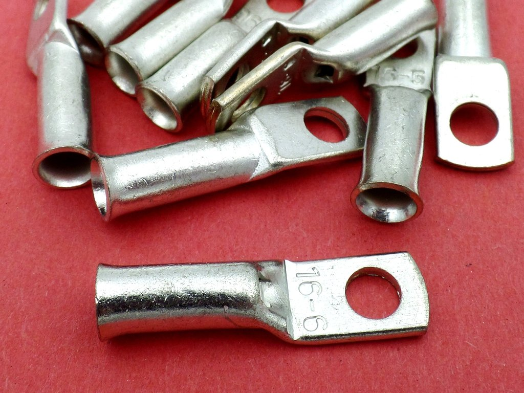 16mm² M6 Tinned Copper Tube Ring Terminal Crimp Lug 10 Pack