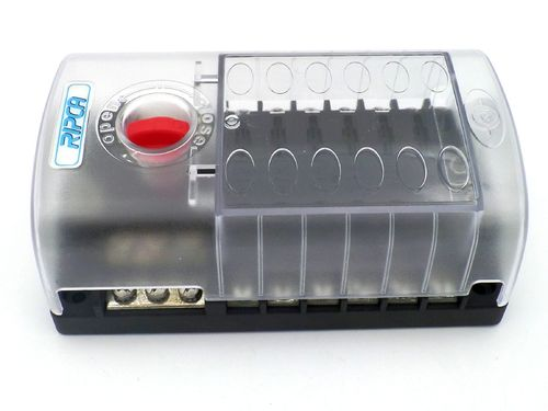 12 Pole Marine Fuse Box with Common Negative Bus