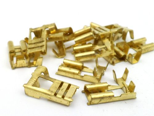 6.3mm Plain Brass Motorcycle Flag Terminal 10 Pack