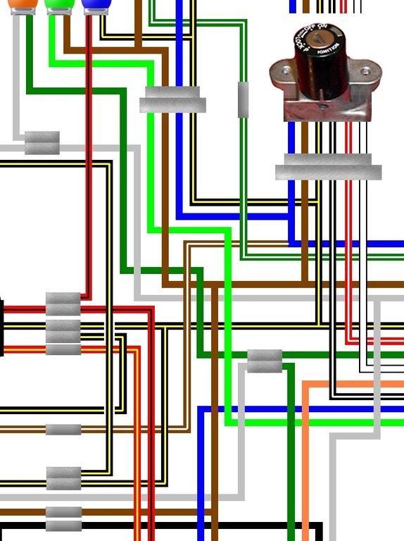 Kawasaki KH750 H2 UK/Euro Spec Colour Wiring Diagram on