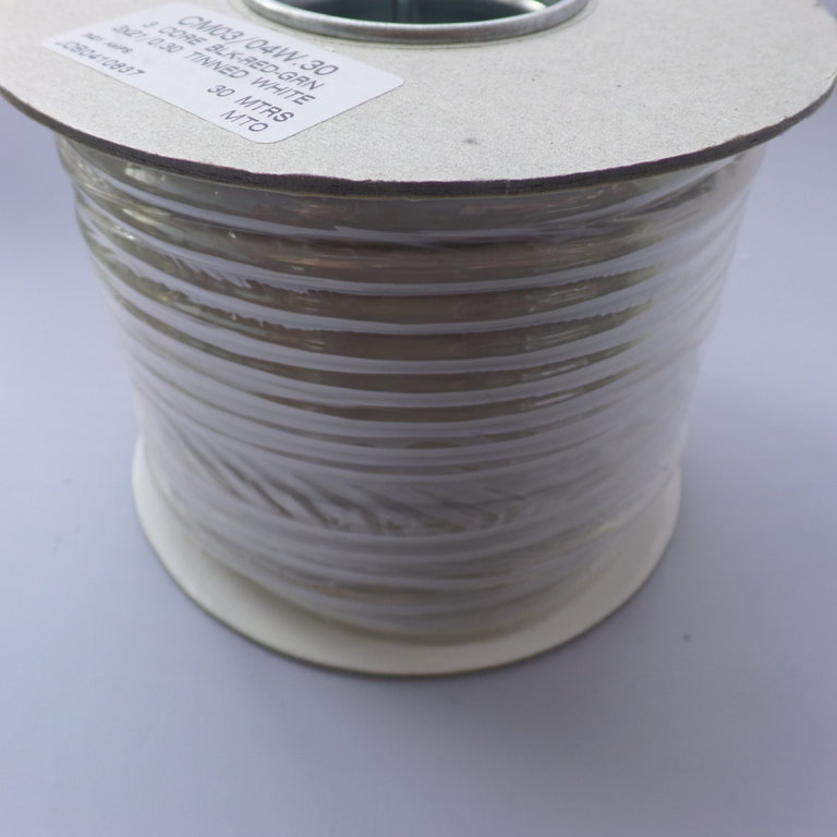1.5mm² 3 Core Tinned Round 21/0.30 21A Marine White Cable 30m