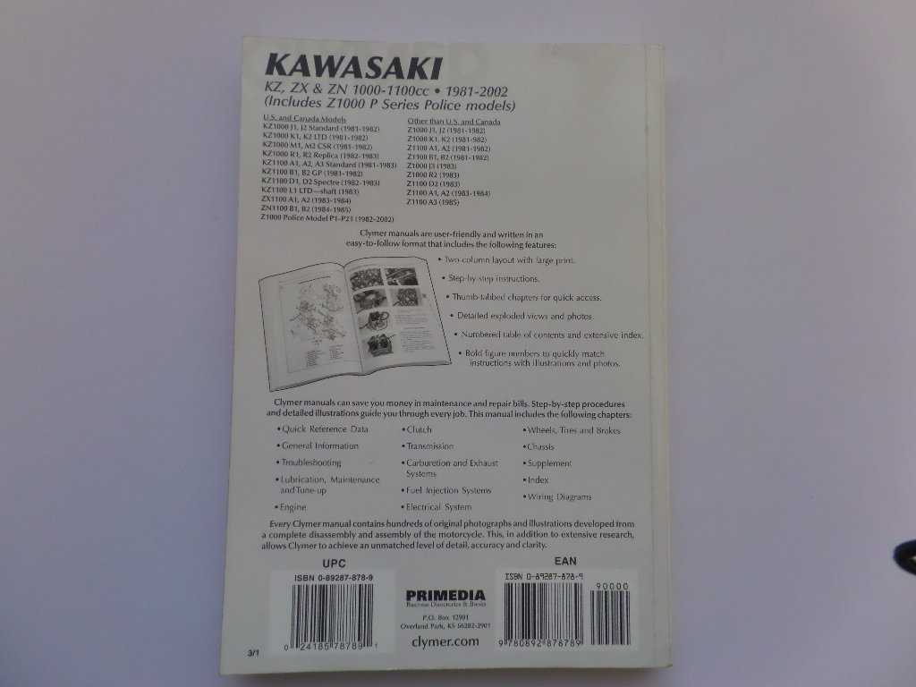 Kawasaki Z1000 Z1100 Kz1100 Clymer Workshop Maintenance Manual Wiring Diagram Used
