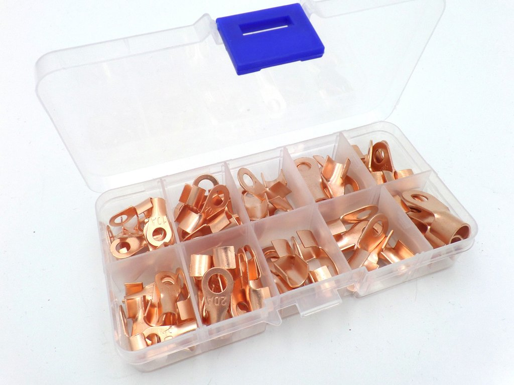 Plain Copper Tube Automotive Cable Ring Terminal Lug 70 Pack