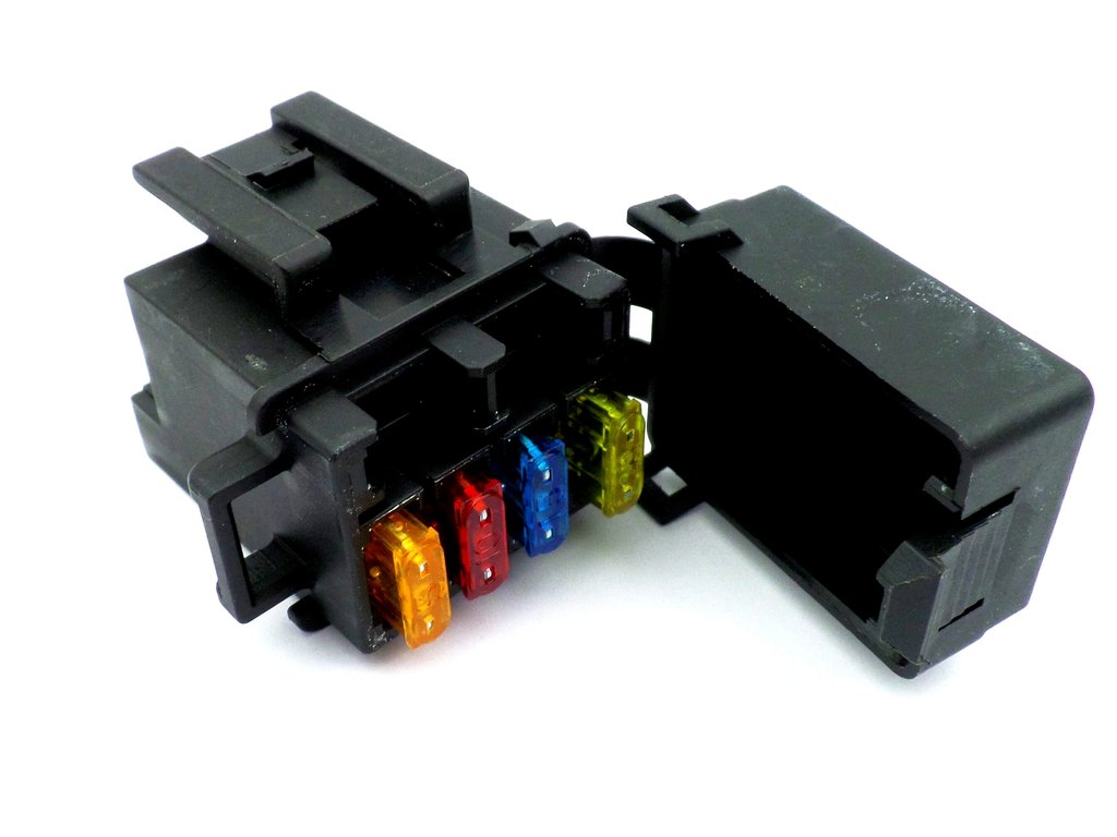 4 Way Motorcycle Mini Blade Fuse Box With Terminals and Fuses